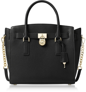 Michael Kors Hamilton Large Black Pebbled Leather Satchel Bag - BLACK - STYLE