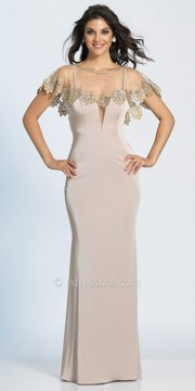 Dave and Johnny Sheer Illusion Lace Applique Caped Evening Dress