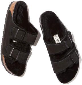 Birkenstock Arizona Shearling-Lined Sandal in Black/Black Suede, Size IT 36