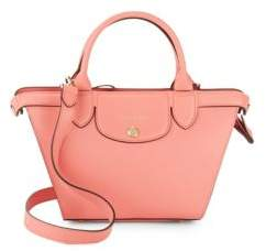 Longchamp Le Pliage Heritage Leather Crossbody Bag - BRIGHT PINK - STYLE