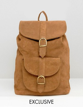 Reclaimed Vintage Inspired Suede Leather Backpack