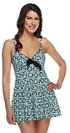 Fit 4 U Thighs Retro Vintage Tie Front Swim Dress