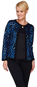 Bob Mackie As Is Bob Mackie's Long Sleeve Jewel Neckline Sequin Jacket