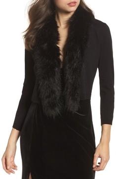 Eliza J Women's Faux Fur Trim Cardigan