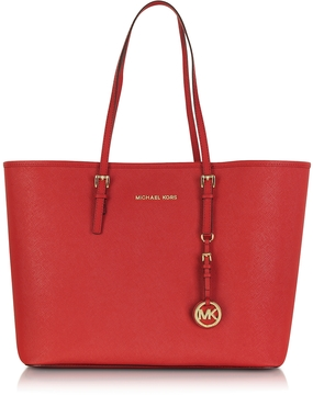Michael Kors Jet Set Travel Medium Bright Red Saffiano Leather Top-Zip Tote - RED - STYLE