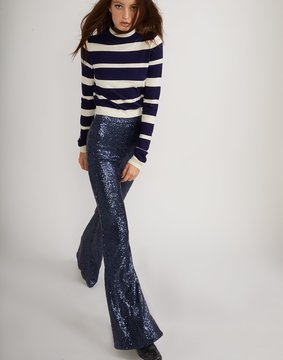 Cynthia Rowley Navy Sequin Flared Pants