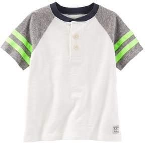 Osh Kosh Boys 4-8 Raglan Short Sleeve Colorblock Henley Tee
