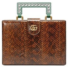 Gucci Broadway Genuine Snakeskin Box Clutch - Brown - BROWN - STYLE