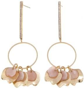 Danielle Nicole Acacia CZ and Pink Stone Goldtone Bar and Circle Petal Dangle Earrings