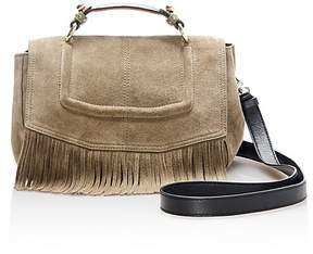 Maje Fringe Trim Medium Suede Satchel