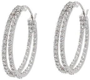 Diamonique As Is 1.45 cttw 1 Double Hoop Earrings, Sterling