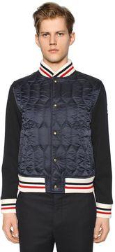 Moncler Gamme Bleu Wool Bomber Jacket W/ Nylon Front Panel