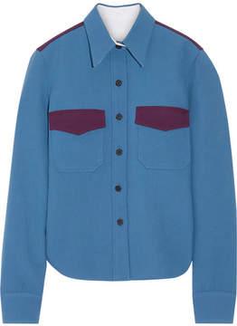 Calvin Klein Two-tone Wool-twill Shirt - Cobalt blue
