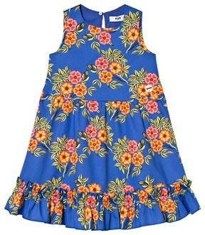 MSGM Blue Floral Frill Detail Dress