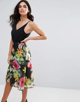 AX Paris Chiffon Floral Midi Skater Dress With Plain Top