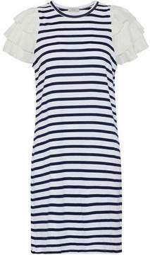 Clu Ruffled Silk Satin-Trimmed Striped Cotton-Blend Jersey Dress