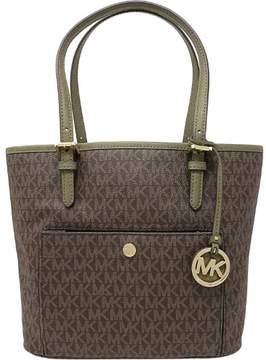 Michael Kors Women's Medium Jet Set Top Zip Bag Leather Top-Handle Tote - Brown / Olive - BROWN / OLIVE - STYLE