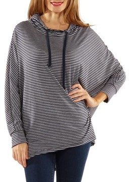 24/7 Comfort Apparel Women's Dolman Sleeve Striped Hoodie
