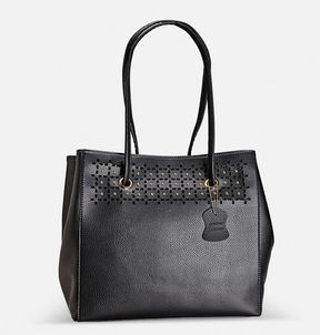 Avenue Fold-in Stud Cutout Leather Tote