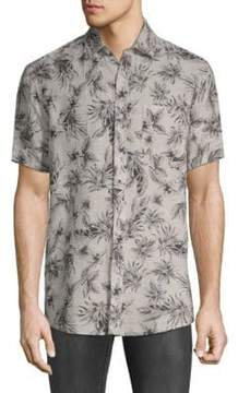 Saks Fifth Avenue BLACK Printed Short-Sleeve Linen Button-Down Shirt
