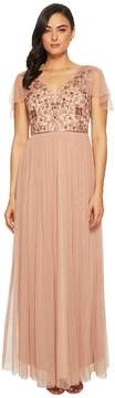 Adrianna Papell Long Mesh Gown with Beaded Bodice and Flutter Capelet Women's Dress