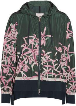 Moncler Comte Hooded Floral-print Shell Jacket - Emerald