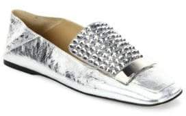 Sergio Rossi SR1 Jeweled Metallic Leather Slippers
