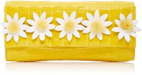 Nancy Gonzalez Crocodile Clutch With Mink Flowers