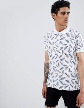 Brave Soul Feather Print Polo Shirt