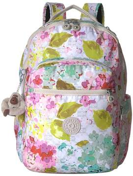 Kipling Seoul Large Print Backpack Bags - LUSCIOUS FLOWER WHITE - STYLE