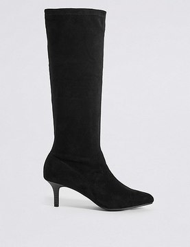Marks and Spencer Kitten Heel Pointed Stretch Knee Boots