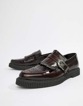 Asos DESIGN Creeper Loafers In Burgundy Leather With Fringe Detail
