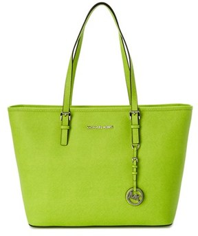 MICHAEL Michael Kors Jet Set Leather Tote. - GREEN - STYLE