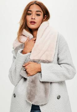 Missguided Pink & Grey Contrast Faux Fur Scarf