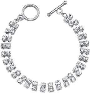 1928 Simulated Crystal Double Strand Toggle Bracelet