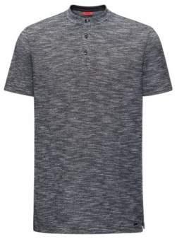 HUGO Boss Mouline Oxford Cotton Henley Shirt, Regular Fit Dayes L Black