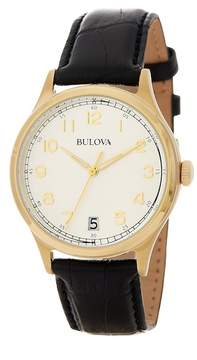 Bulova Men's Dress Quartz Croc Embossed Calfskin Watch