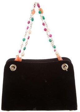 Oscar de la Renta Velvet Embellished Bag