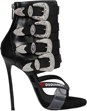 DSQUARED2 120mm Multi Buckle Leather Sandal Boots