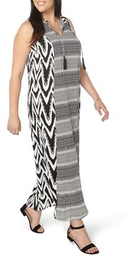 Evans Plus Size Women's Mixed Print Tie Neck Maxi Dress