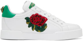 Dolce & Gabbana White Embroidered Floral Sneakers
