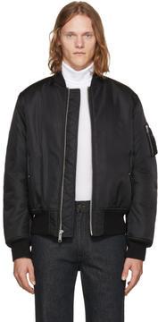 Calvin Klein Black Nylon Shearling-Lined Bomber Jacket