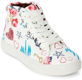 Steve Madden Kids Girls) White J-Scribble High Top Sneakers