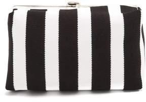 Proenza Schouler Asymmetric Frame Striped Clutch - Womens - Black White