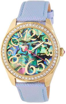 Betsey Johnson Women's Abalone Snake Embossed Leather Watch
