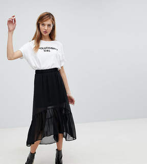 Monki Ruffle Tiered Midi Skirt