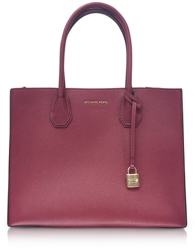Michael Kors Mercer Large Mulberry Pebble Leather Convertible Tote Bag - PURPLE - STYLE