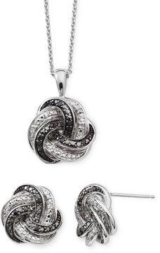 Black Diamond FINE JEWELRY 1/10 CT. T.W. White and Color-Enhanced Love Knot Set
