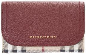 Burberry Leather & House Check Fabric Wallet - BURGUNDY - STYLE