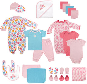 Luvable Friends Pink Floral Footie 24-Piece Gift Cube Set - Newborn